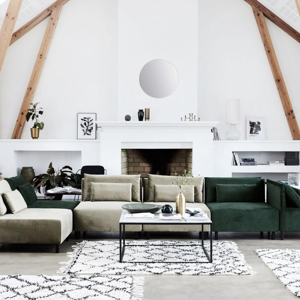 House Doctor Couch Box mit 2 Kissen Belunga Grün 90x90x75 ...